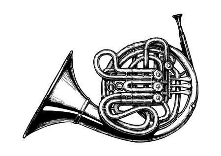 Ilustración de dibujado a mano de vector de corno francés en estilo vintage grabado. Aislado sobre fondo blanco.