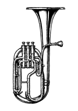 Vector hand drawn illustration of Tenor horn in vintage engraved style. Isolated on white background.