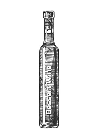 Vector hand drawn illustration of icewine, type of dessert wine in vintage engraved style. Isolated on white background.