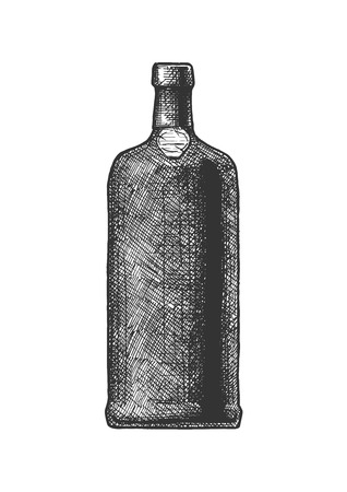 Vector hand drawn illustration of port wine bottle, type of Portuguese dessert wine in vintage engraved style. Isolated on white background. Ilustração