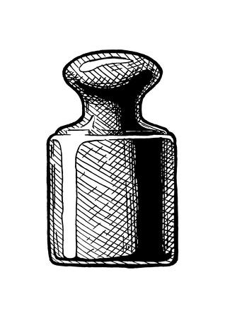 Präzisionskalibriergewicht für eine Waage. Vektor handgezeichnete Illustration im Vintage-Gravur-Stil. Isoliert auf weißem Hintergrund.