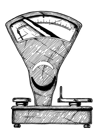 Vector hand drawn illustration of Mechanical trading scale in vintage engraved style. Isolated on white background. Vector Illustration