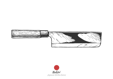 Nakiri, Japanese vegetable kitchen knife. Vector hand drawn illustration in vintage engraved style. Isolated on white background.