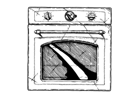 Vector hand drawn illustration of Kitchen stove in vintage engraved style. Isolated on white background. front view Ilustracja