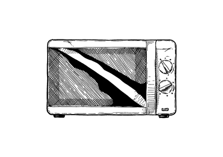 Vector hand drawn illustration of Microwave oven in vintage engraved style. Isolated on white background. front view Ilustração