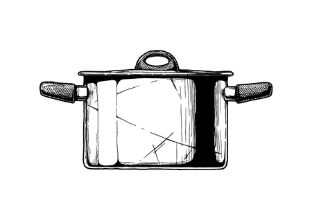 Vector hand drawn illustration of Stock pot in vintage engraved style. Isolated on white background. Side view. Ilustracja