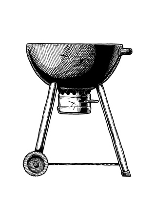 Vector hand drawn illustration of kettle grill in vintage engraved style. Isolated on white background. Side view. Ilustracja
