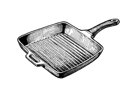 Vector hand drawn illustration of Griddle pan in vintage engraved style. Isolated on white background. Vetores