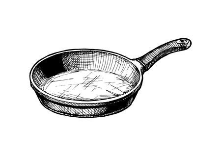 Ilustración de dibujado a mano de vector de sartén en estilo vintage grabado. Aislado sobre fondo blanco.