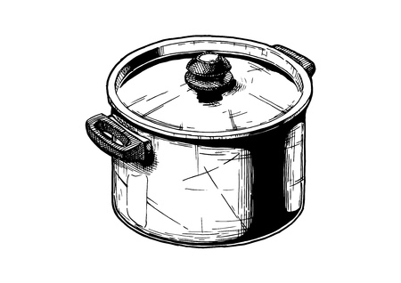 Vector hand drawn illustration of Stock pot in vintage engraved style. Isolated on white background. Stock Illustratie