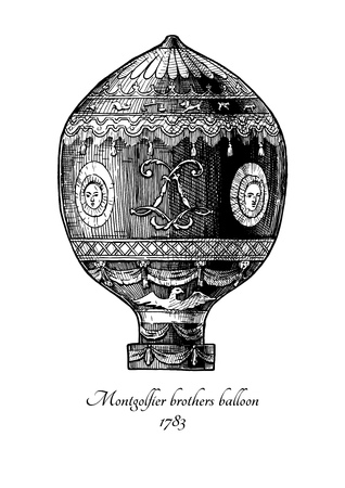 Vector hand drawn illustration of Montgolfier brothers balloon in vintage engraved style. Isolated on white background. The first Hot air balloon. Ilustracja