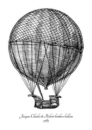 Jacques Charles and Robert brothers balloon. Vector hand drawn in vintage engraved style. Isolated on white background.  The first gas balloon Ilustração