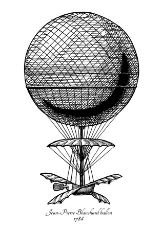 Vector hand drawn illustration of Jean-Pierre Blanchard balloon in vintage engraved style. Isolated on white background. The first Hot air balloon.