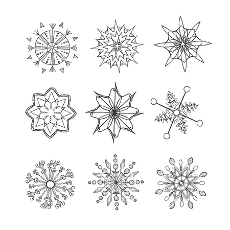 Vector hand drawn illustration of different snowflake.