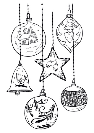 Vector hand drawn set of Christmas ornaments in vintage engraved style. Isolated on white background. Ilustracja