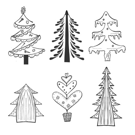 Vector hand drawn illustration set of New Year tree. Isolated on white background.