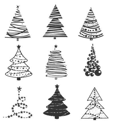 Vector illustration set of New Year tree. Isolated on white background. Ilustracja