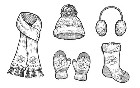 Vector hand drawn illustration of winter accessories: scarf, Fur Headphones, Cable Pom-Pom Hat, mittens and Christmas stocking. Set in vintage engraved style. Isolated on white background.