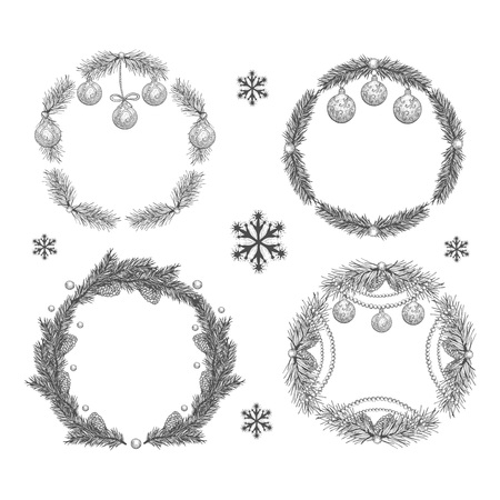 Vector illustration set of five Christmas wreath in ink hand drawn style.