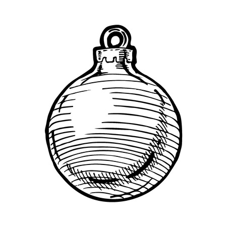 Vector hand drawn illustration of Christmas ball in vintage engraved style. Isolated on white background.