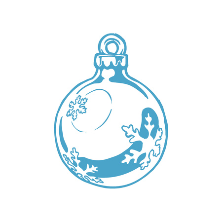 Vector hand drawn illustration of blue Christmas ball in vintage engraved style. Isolated on white background. Ilustracja