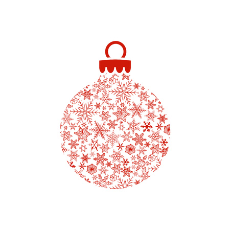 Red Christmas ball made of snowflakes on white background