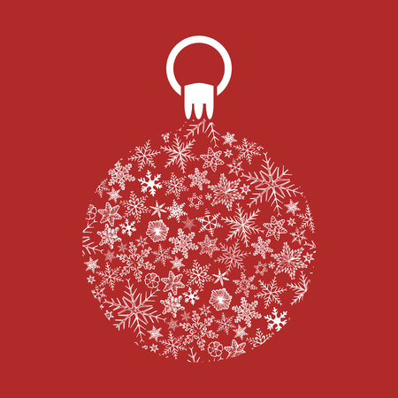 Christmas ball made of snowflakes on red background Ilustracja