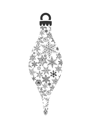Christmas ornament made of snowflakes on white background