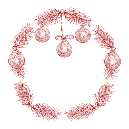 Vector illustration of Christmas wreath in ink hand drawn style.