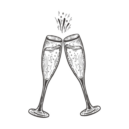 clinking glasses with champagne. Vector hand drawn illustration isolated on white background