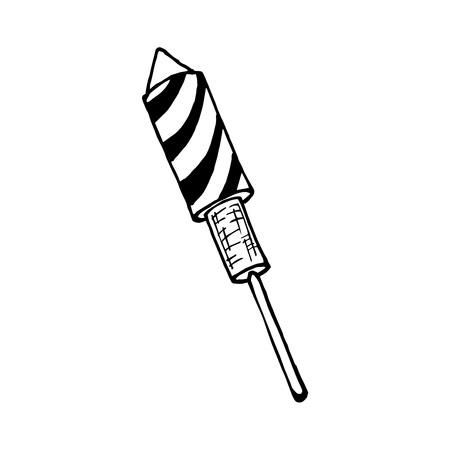 Black and white hand drawn illustration of Rocket Firework isolated on white background