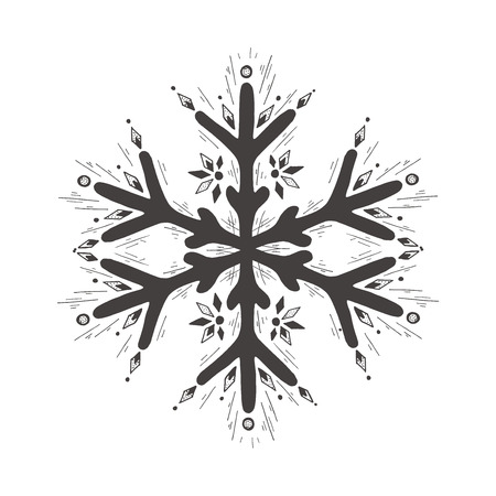 Vector hand drawn illustration of snowflake in vintage engraved style. Isolated on white background.