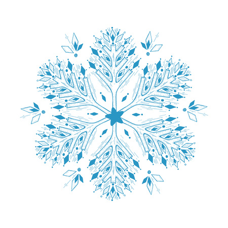 Vector hand drawn illustration of blue snowflake in vintage engraved style. Isolated on white background. Ilustracja