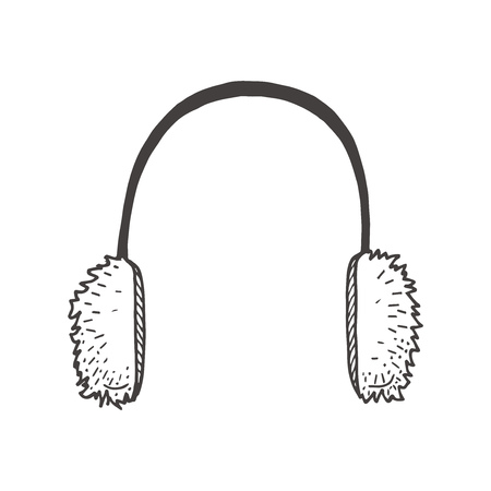 Vector hand drawn illustration of Fur Headphones in vintage engraved style. Isolated on white background. Ilustracja