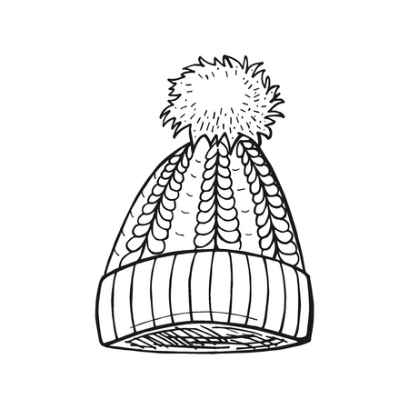 Vector hand drawn illustration of Cable Pom-Pom Hat in vintage engraved style. Isolated on white background.
