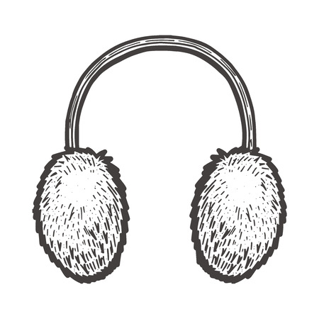 Vector hand drawn illustration of Fur Headphones in vintage engraved style. Isolated on white background. 向量圖像