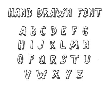 Complete Alphabet Set A-Z in doodle style. Vector illustration of Hand Drawn Font. Ilustracja