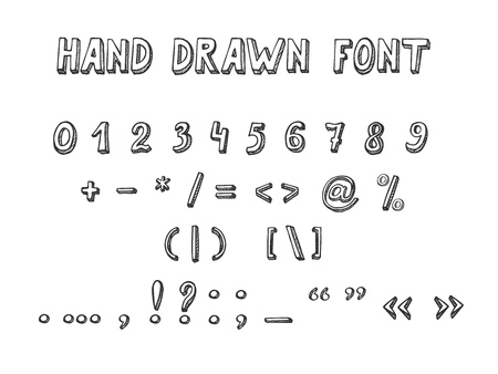 Vector illustration of Hand Drawn Font in doodle style. Numbers and punctuation marks and mathematical symbols Ilustracja