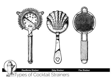 Tipos de coladores de cócteles. Hawthorne, Julep y colador de malla fina. Ilustración de dibujado a mano de vector de equipo de barman en estilo vintage grabado. aislado sobre fondo blanco.