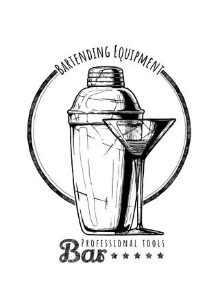 Cobbler shaker and cocktail glass. Logo label Illustration of Bar professional tools in vintage engraved style. Logo