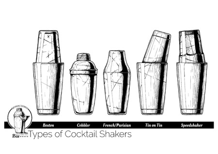 Types of cocktail shakers. Boston, Cobbler shaker, Parisian (French), Tin on Tin and Speedshaker. Vector hand drawn illustration of bartending equipment in vintage engraved style. isolated on white background. Ilustracja