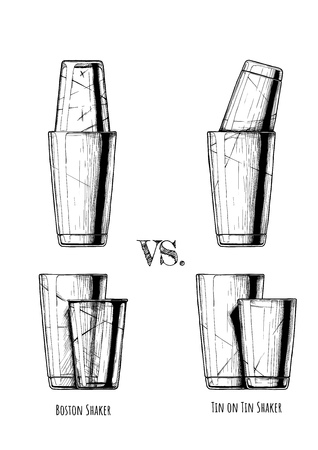 Boston shaker vs. Tin on Tin. Vector hand drawn illustration of cocktail shakers in vintage engraved style. isolated on white background. Ilustracja