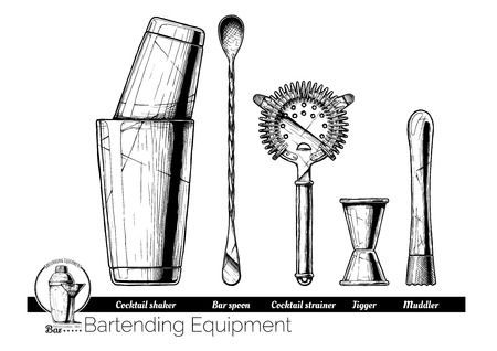 Professional bartender kit set. Cocktail shaker, bar spoon, Hawthorne strainer, Jigger and Muddler. Vector hand drawn illustration of bartending equipment in vintage engraved style. isolated on white background. Ilustracja