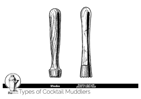 Types of cocktail muddlers. Wooden muddler and Stainless steel with plastic or rubber head. Vector hand drawn illustration of bartending equipment in vintage engraved style. isolated on white background.