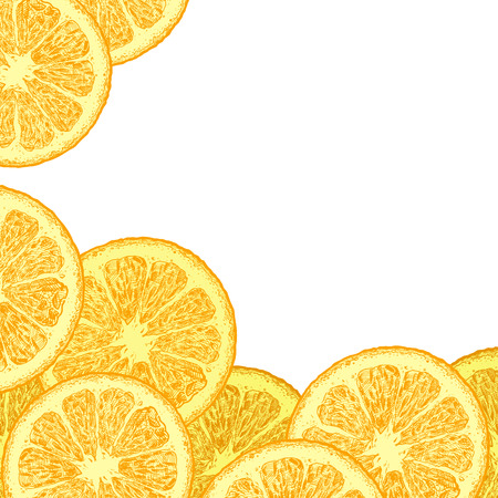 Vector template with citrus, orange wedges. Place for your text on white background.