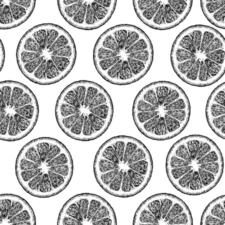 Vector black and white seamless pattern with citrus, lemon or orange wedges. illustration in vintage engraved style.