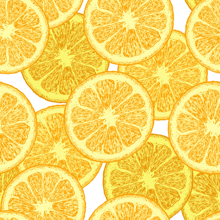 Seamless pattern with citrus, orange wedges. Vector illustration in vintage engraved style.