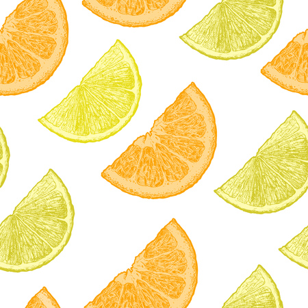 Seamless pattern with citrus, lemon and orange wedges. Vector illustration in vintage engraved style. Ilustracja