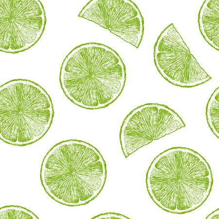 Vector seamless pattern with citrus, lime wedges. illustration in vintage engraved style. Ilustracja