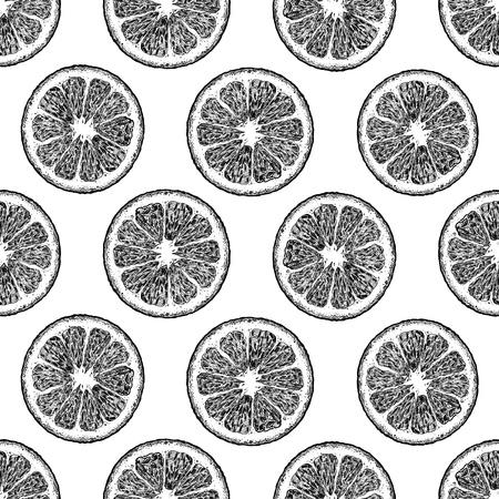 Patrón transparente de vector blanco y negro con rodajas de cítricos, limón y naranja. ilustración en estilo vintage grabado. Ilustración de vector